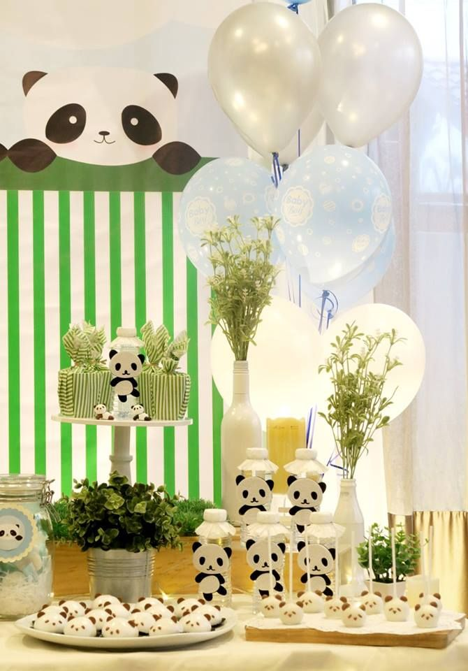 panda-themed-baby-celebration-white-balloons  Panda baby showers