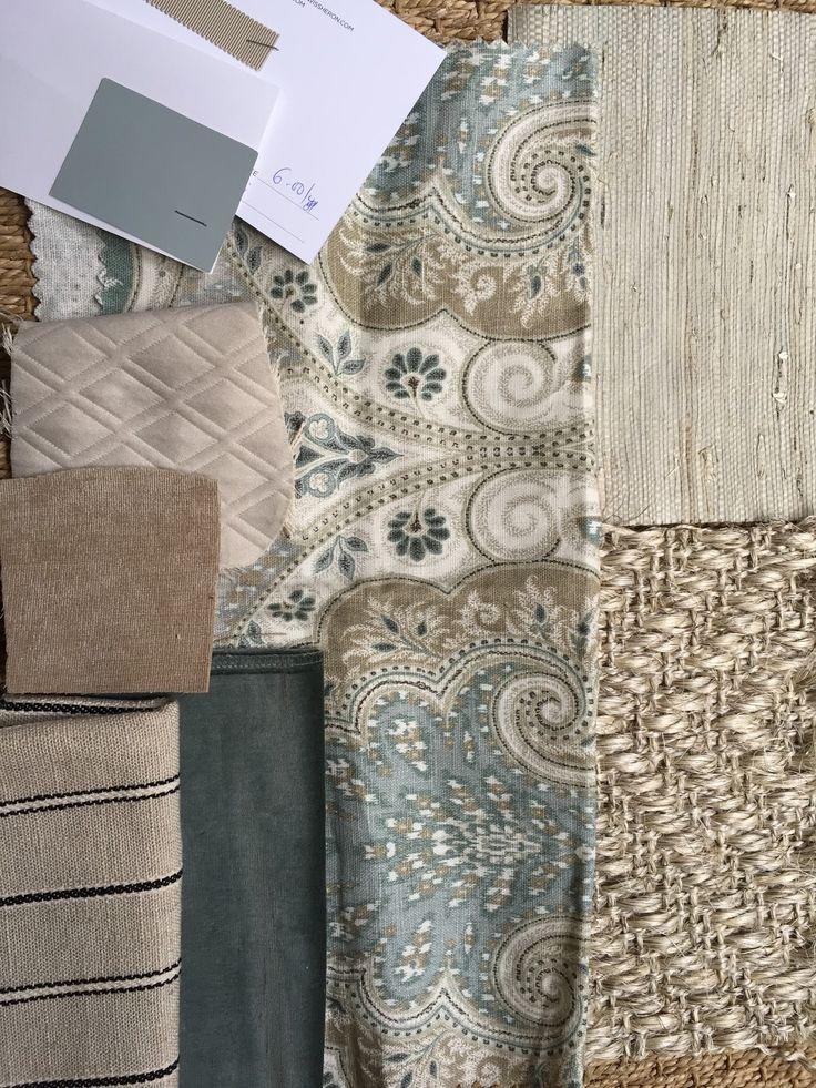 blue, gray, khaki fabric choices with sisal rug.  Portfolio Latika in Seafoam.