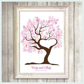 I love this!  Great idea for those doing a wedding instead of a dust collecting guest book.  Would also be great for guests at a birthday party or anniversary party.  For a kid, you could change the tree into something else to fit the theme but still use the fingerprints of the guests to add to the picture...and make sure it is signed!!