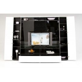 Bavaro Modern Black and White Lacquer TV Entertainment Center w/ Storage -