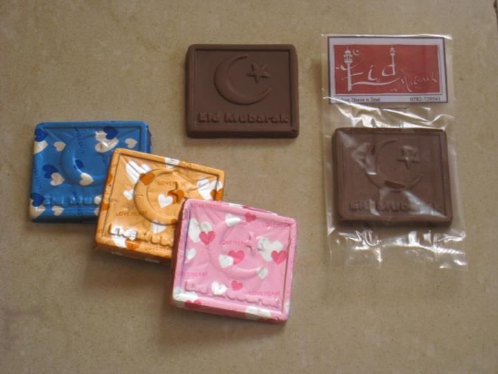 Home-made square shaped chocolates for Eid :)