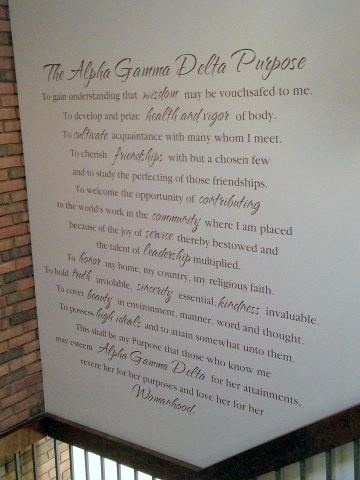 Sorority House Mission Statement.  This design makes quite the statement and is a fabulous reminder to their committment.  http://kathryn.uppercaseliving.net