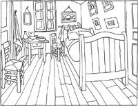 Colouring pages    The bedroom  In Arles, Vincent made a painting of his bedroom in the small yellow house where he lived. On the right hand side of the room stood a big yellow bed, and many of Vincent's paintings adorned the walls.