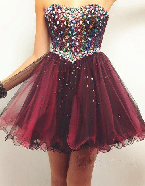 Custom Made Short Prom Dresses,Strapless Sleeveless Tulle with