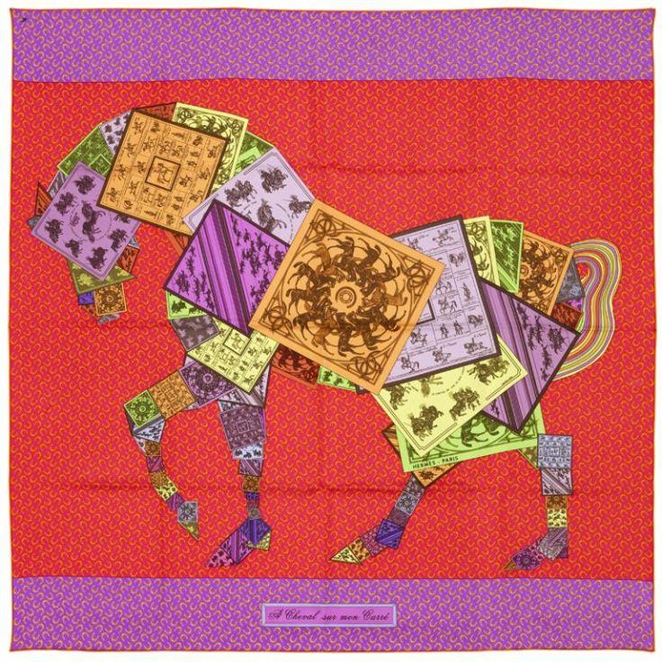 Hermès (fabricant) ; Marie-Amélie Barret, dite Bali Barret (dessinateur), Carré : À cheval sur mon carré, Paris, printemps-été 2012. MT 2013.2.7. Don Hermès, 2013 © Musée des Tissus, Pierre Verrier
