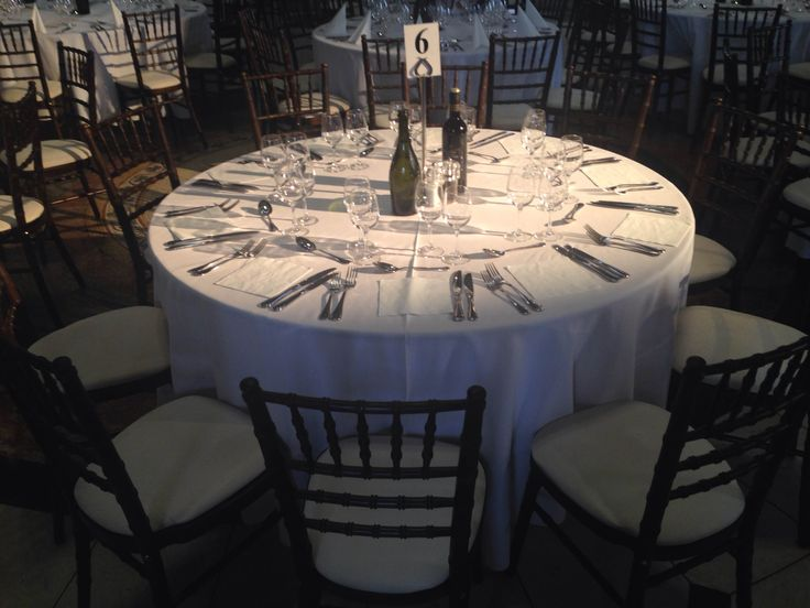 Black on White place settings for the RecStaff Awards night at City Hall Dublin, 2016