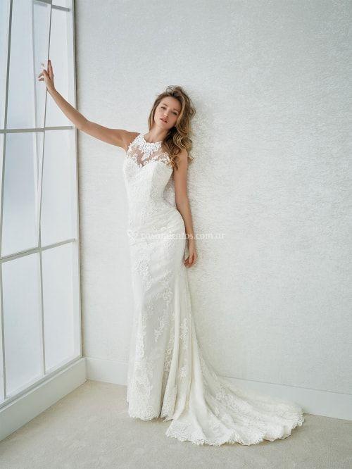 vestido de novia con escote ilusión modelo farnes (white one