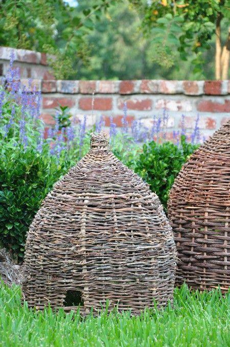 Skeps for old school bee keeping eckmann studio love my dream garden pinterest gardens - Wicker beehive basket ...