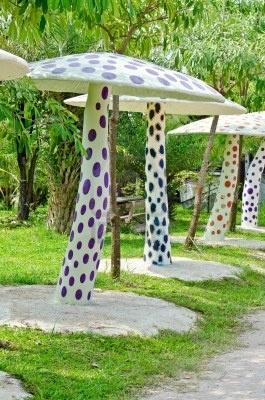 Concrete mushrooms in the garden, Thailand.
