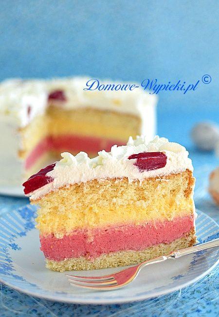 Tort brzoskwiniowo- malinowy