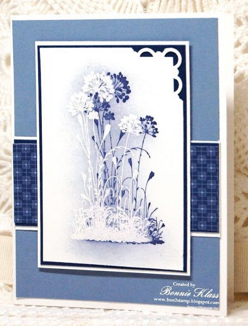 Stamping with Klass: Dynamic Serene Silhouettes.. stamp in white and emboss with white....sponge the background and then stamp again with a deeper color