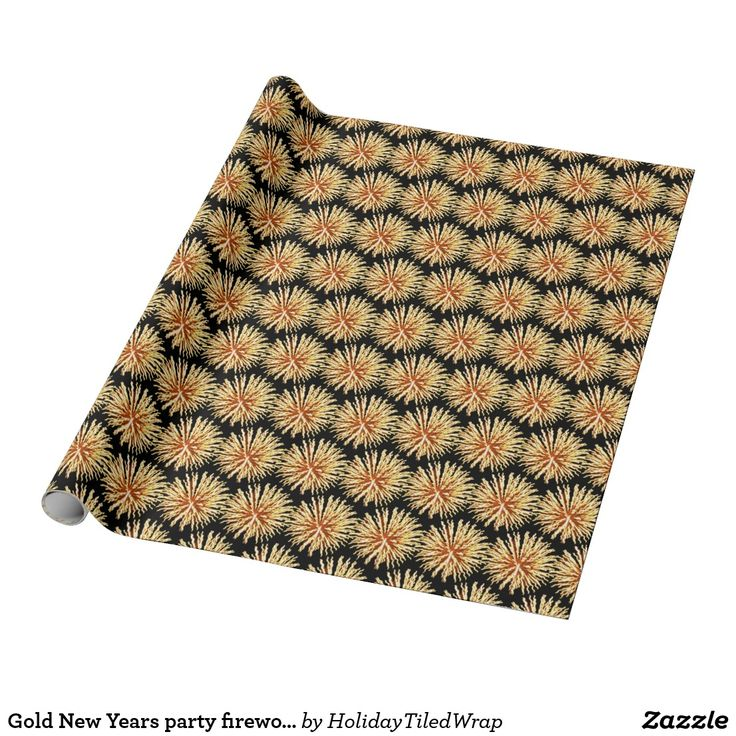 Gold New Years party fireworks wrapping paper