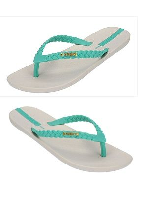 Stylish and comfortable beige flip flop with sea foam green braided straps and logo detail on straps. Flip flops are constructed of 100% recyclable material by Ipanema Flip Flops, $23.00