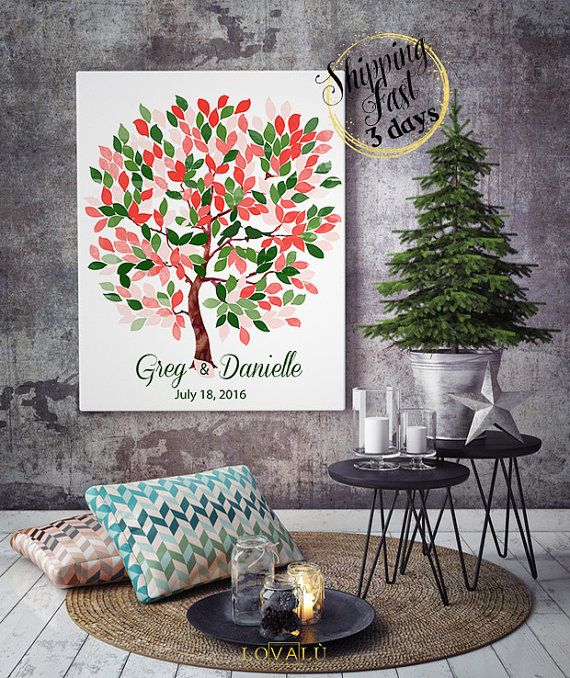 Rustic wedding inspirations with natural dark greens | Alternative Guest Book tree | Guestbook on canvas | Bridal Shower | Wedding gift