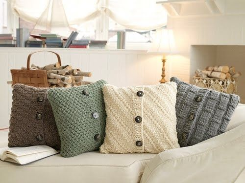 """Craft your very own sweater pillow covers. Use old sweaters you can't bear to get rid of or go to good will. Wow, I wish I still had those """"Outback Red"""" sweaters from my high school days to use!"""