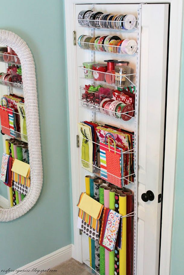 I would never have need for that much gift wrap, but it's a cool system and could be repurposed.  Giftwrap Organizer via O is for Organize