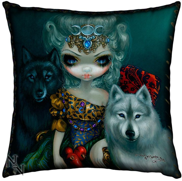 Cojín Gótico Gran Sacerdotisa #lobo #wolf #wicca #pagan #gotico #gothic#alternative #xtremonline
