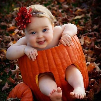 Baby pic in a carved out pumpkin!