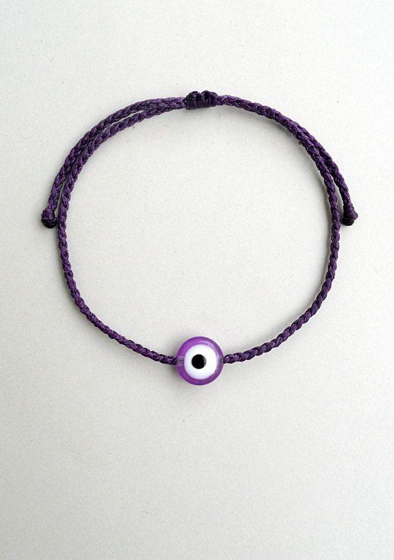 Dark purple evil eyeBraided braceletAcrylic by StigmaHandmade