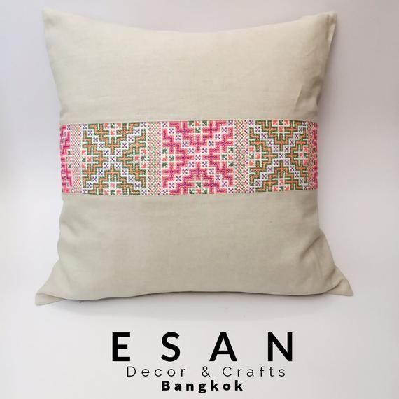 netrual pillow Ivory and Brown chiang mai cotton striped pillow minimal pillow ethic pillow Hmong pillow 12x20 pillow lumbar pillow