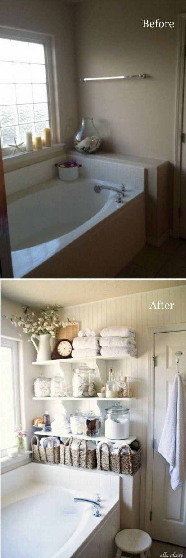 Take Advantage of Empty Walls with DIY Bathroom Linen Shelves. Take advantage of empty walls by adding built-in shelves to your bathroom to store towels and all of your bathroom essentials. via ellaclaireinspired.