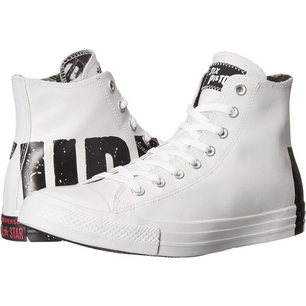 Converse Chuck Taylor All Star Hi - Sex Pistols (White/Black/White)... ($41) ❤ liked on Polyvore featuring shoes, sneakers, white, white sneakers, black and white shoes, converse high tops, white high-top sneakers and black and white sneakers