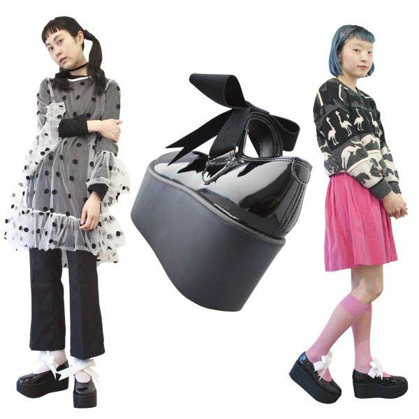 TOKYO BOPPER No.126 / Black Clarino Enamel ribbon shoes featured on Jzool.com