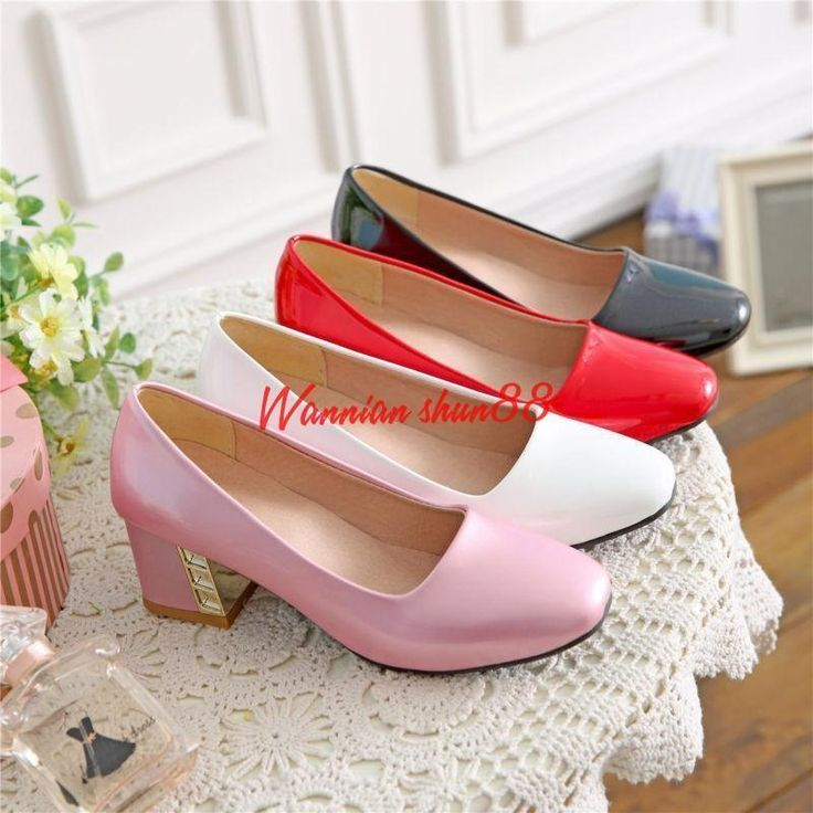 Womens Lady Patent Leather Square Kitten Heels Shoes Ol Party Boat Pumps Us4-1