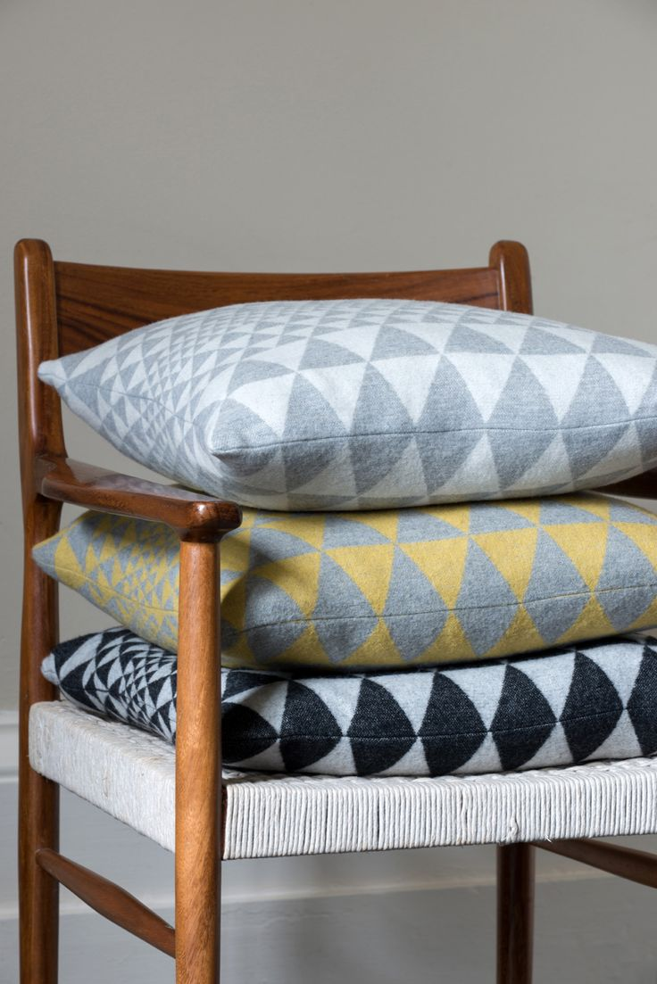 Niki Jones' Isosceles Cushions are made in a 200-year-old Scottish mill from 100% merino wool.