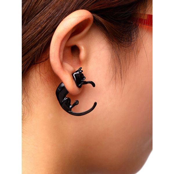 Black Punk Style Cat Single Earring ($4) ❤ liked on Polyvore featuring jewelry…