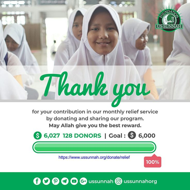 Alhamdulillah all praise to Allah, by now we've already reached our monthly target. Jazaakumullaahu khairan, (may Allah rewards you with the abundance of good). Thank you very much for your participation in our Monthly Relief program.   Under our 100% donation policy we spend every dollar to provide food bags for our brothers and sisters who are in need, especially to the orphans and widows under our care.   Visit ussunnah.org/relief to get details about the program