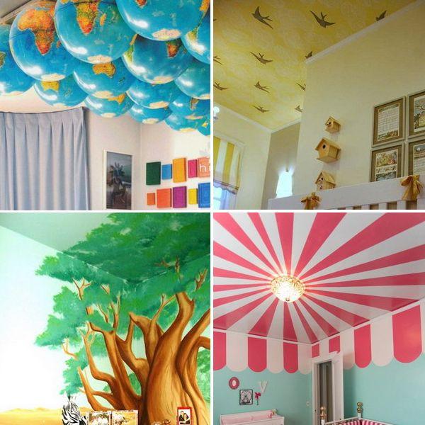 ceiling-ideas-in-kidsroom дизайн потолка в детской комнате