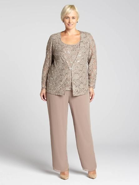 Laura Plus: for women size 14 . Take a different approach to evening dressing with this gorgeous two-piece pant suit! A sequined lace fooler top gives the appearance of wearing a jacket over a matching top in one single piece, contrasted by5030103-8345