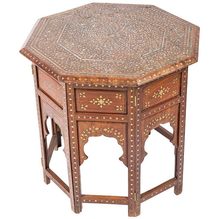 Anglo-Indian Rosewood with Brass Inlay Folding Table |  HEIGHT:	24 in. (61 cm) WIDTH:	24 in. (61 cm.)  From https://www.1stdibs.com/furniture/tables/side-tables/