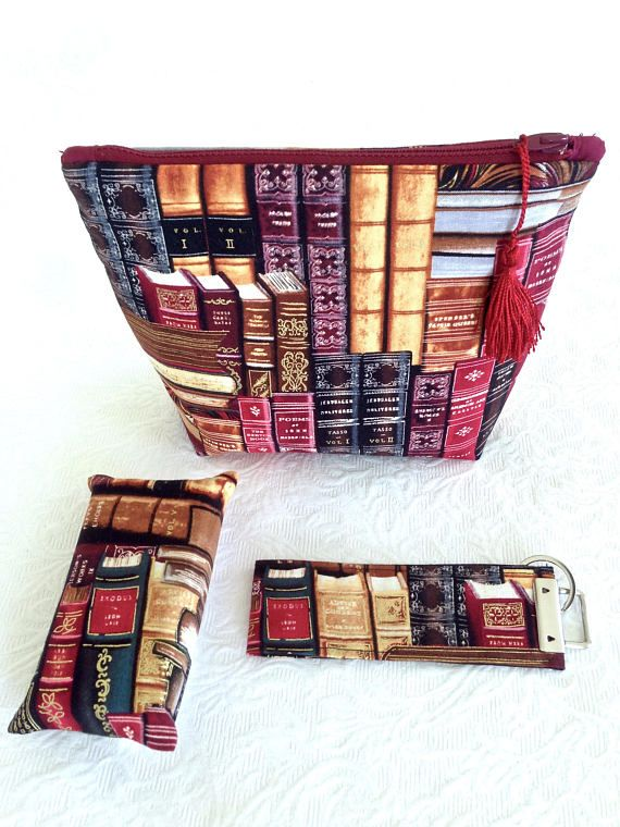 Gift Set Book Fabric Zip Pouch Key Fob Tissue Case Gift