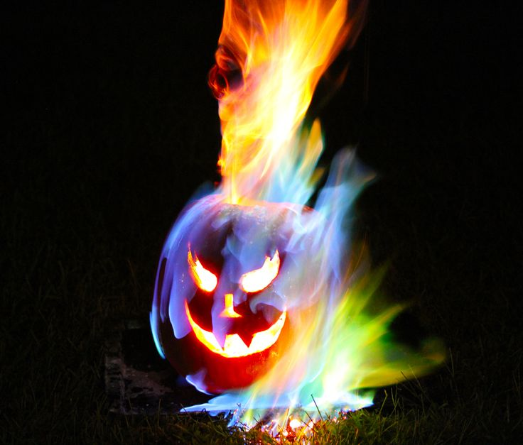 Rainbow Flame Halloween Jack o' Lantern