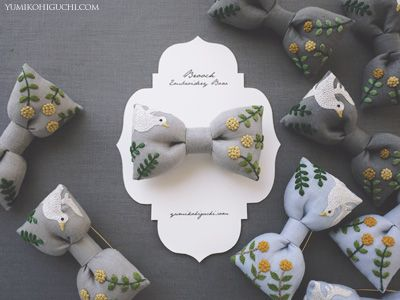 embroidery bow brooch by yumiko higuchi