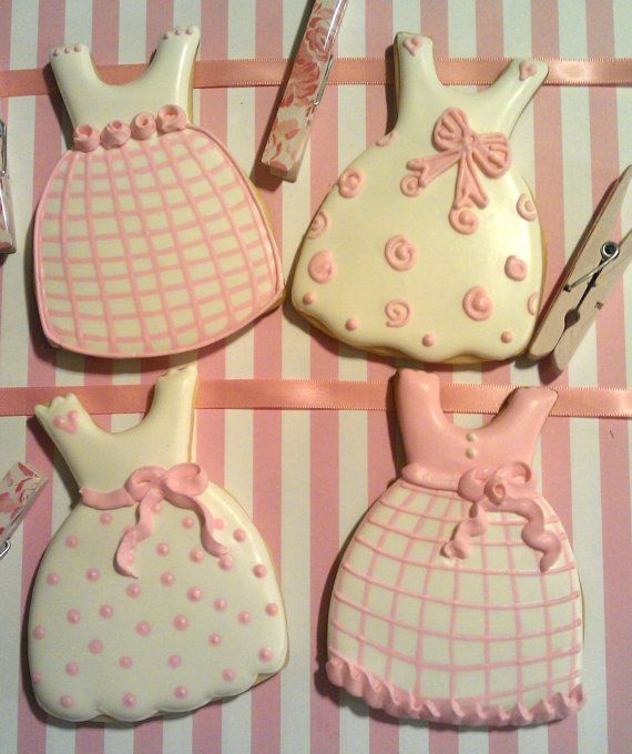 12 Pink Dresses Decorated Sugar cookies Little girl Birthday Baby Shower. $36.00, via Etsy.