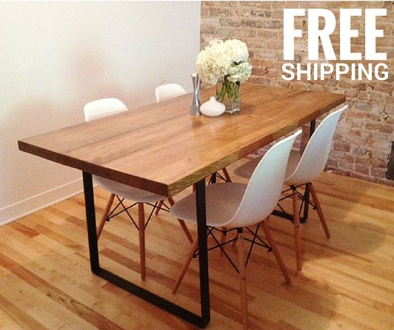 Reclaimed Wood Dining Table With 2u0027u0027 Wrought Iron Legs | Industrial Decor |  Free