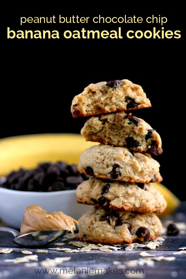 Chocolate chips, Banana oatmeal cookies and Peanut butter on Pinterest