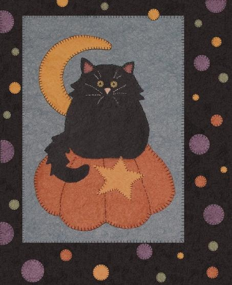 Holler-Black Cat and Pumpkin Wall Hanging from Wool or Wool Felt