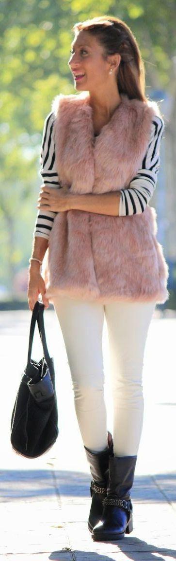 Pink Faux Fur Vest by Lola Mansil Fashion Diary