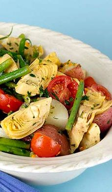 Trying to be all healthy and made this for lunch! LOVE it!!! Spring Artichoke Salad - Salad as the main attraction