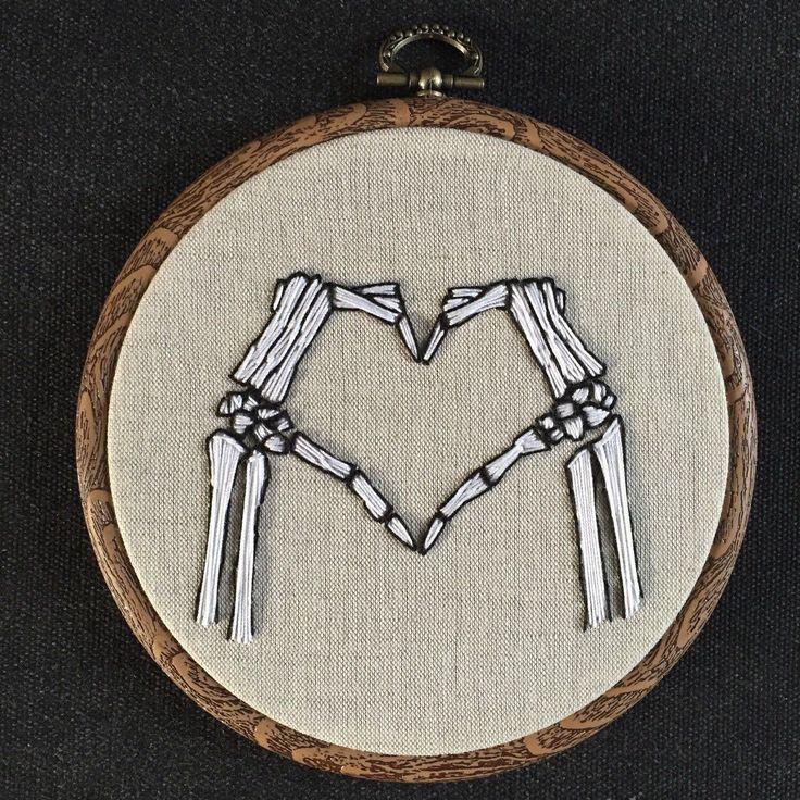Een persoonlijke favoriet uit mijn Etsy shop https://www.etsy.com/listing/265533815/embroidery-hoop-love-skeleton-hands