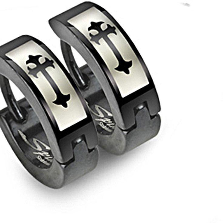 SPIKES 316L Stainless Steel Medieval Cross Black Hinged Hoop Earrings