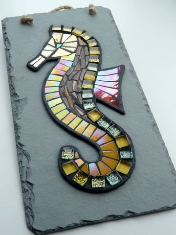 Golden Glass Seahorse Mosaic On Reclaimed Slate Cornish