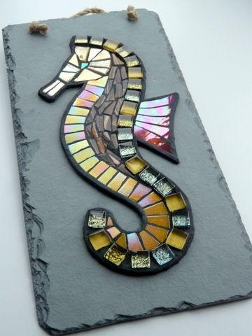Golden Glass Seahorse Mosaic On Reclaimed Slate Cornish