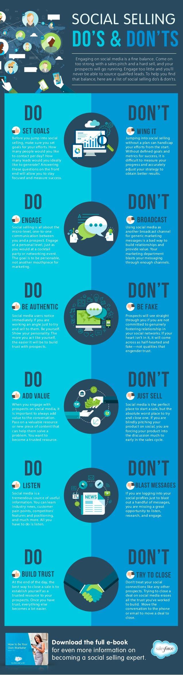 Infographic: Do's & Don'ts of Social Selling by Salesforce via slideshare. #socialmedia