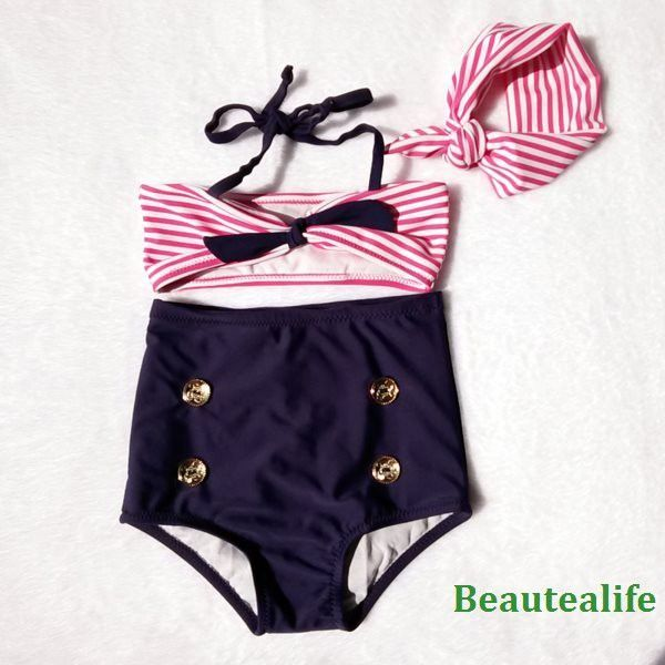 Super Cute High-Waisted Red, White & Blue Stripe Gold Button & Bowknot Accent 3-PC Bikini Bathing Suit 3 Colors Sizes 2-8