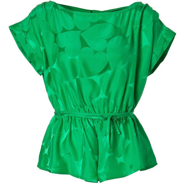 Green Big Hearted Jacquard Top